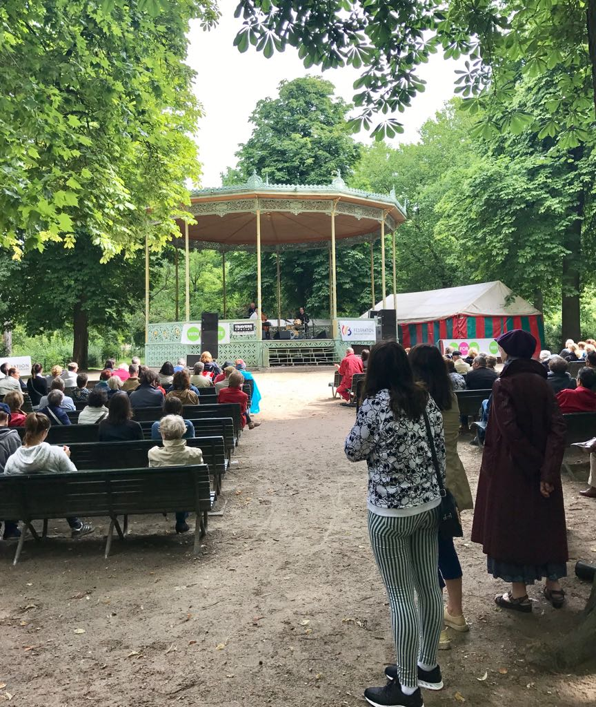 jazz band playing jazz in a bandstand