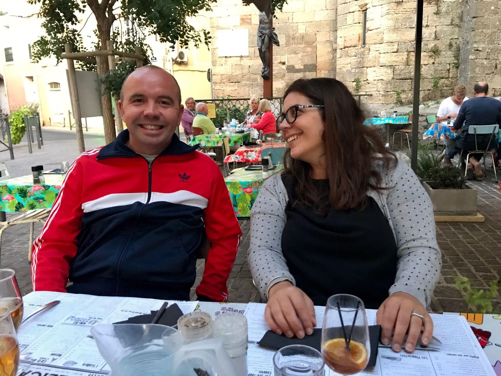 john and fanny at an outdoor restaurant in marseillan
