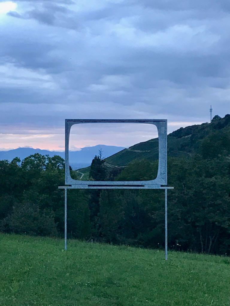 TV framing the sunset