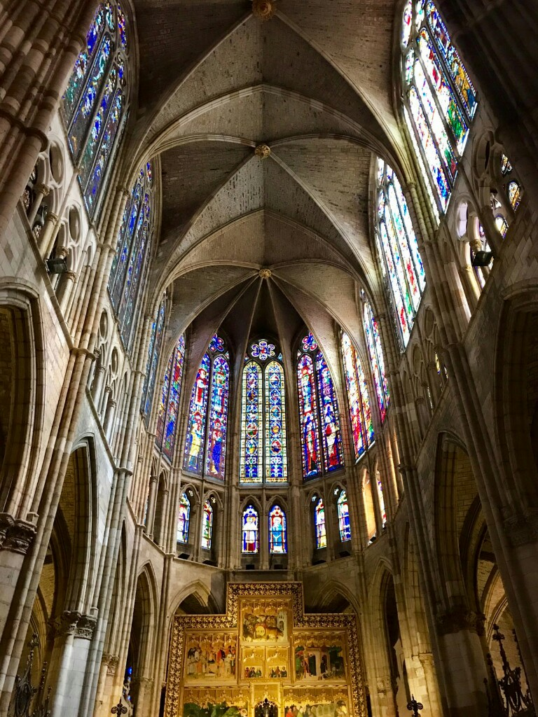 Inside León cathedral showing the windows that form the top of the main chapel