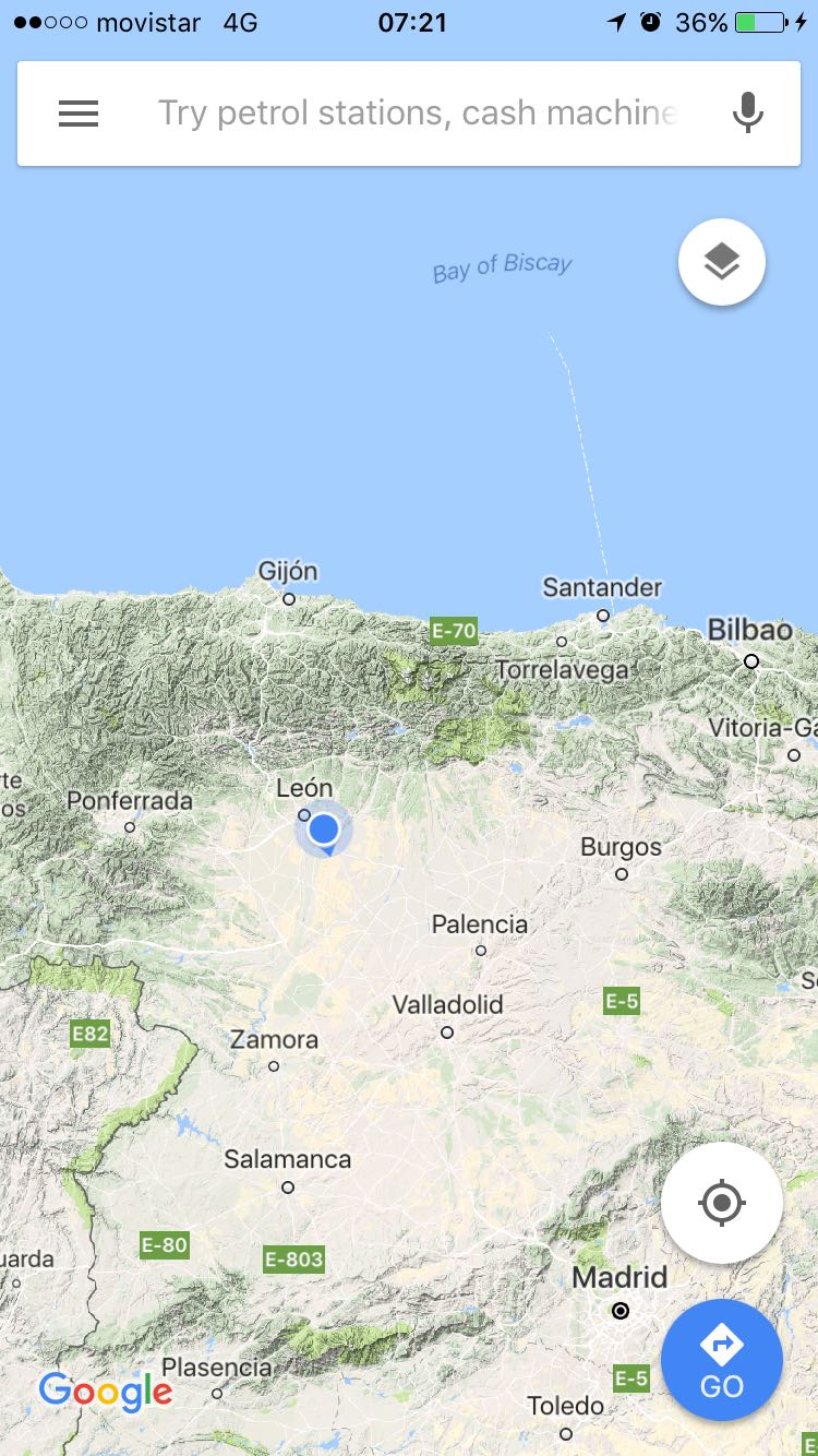 The Meseta as seen on Google maps which shows how flat it is compared with the surrounding lands