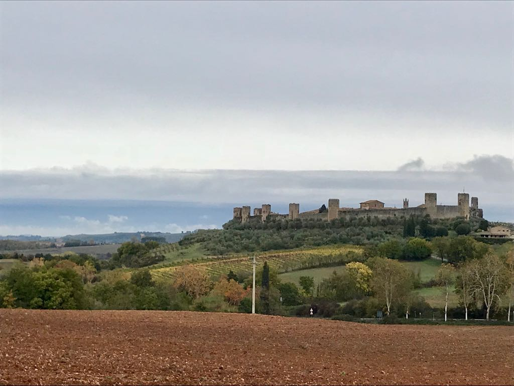 Monteriggioni viewed from a hill north of it