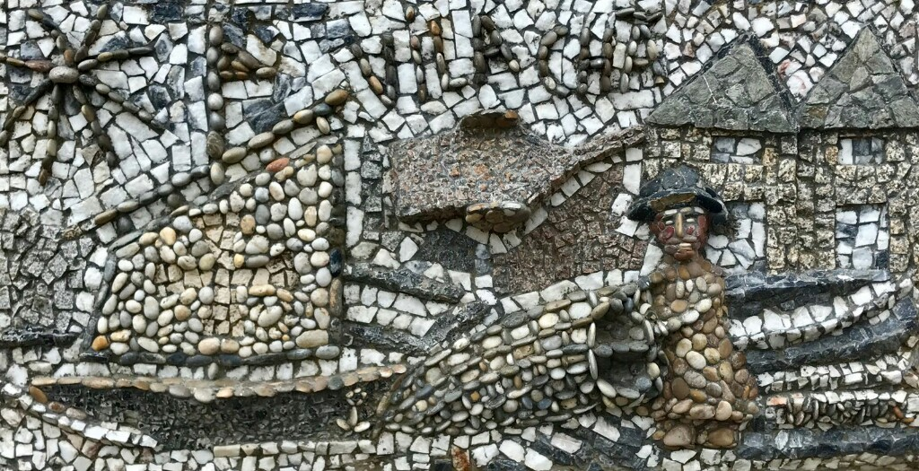 Mosaic of a fisherman bringing in his catch