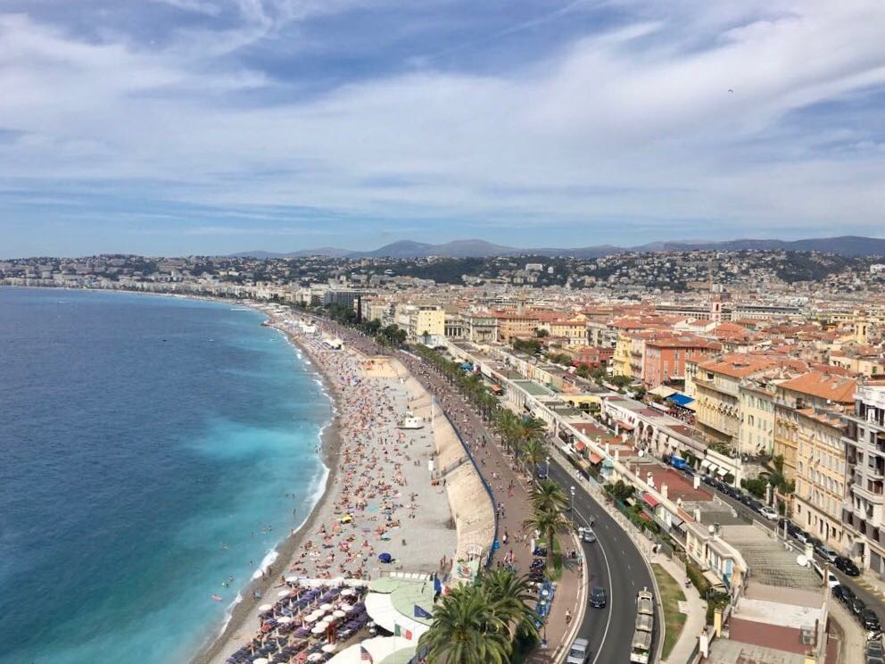 The seafront at Nice from above