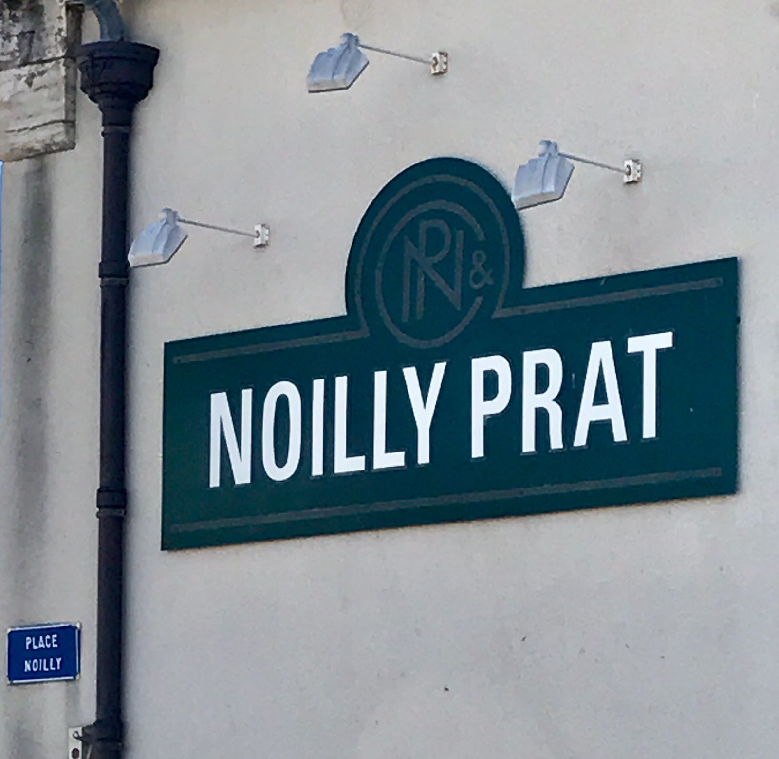 The sign on the wall of the Noilly Prat factory in Marseillan