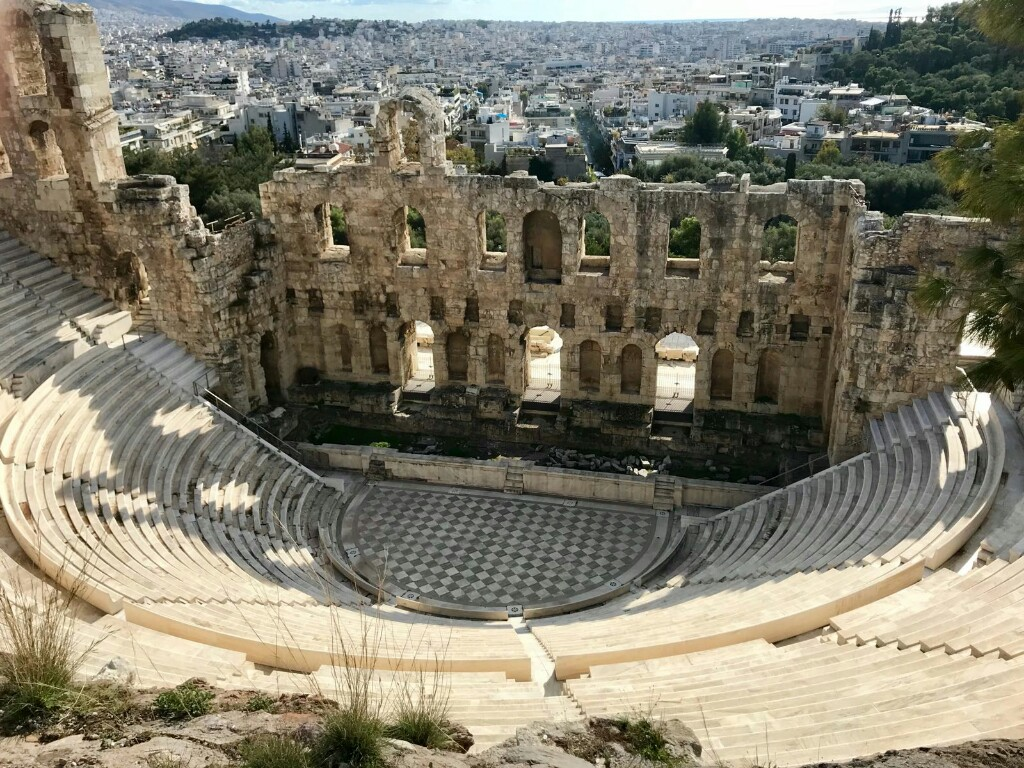 The Odeon of Herodes Atticus theatre from above in the Acropolis