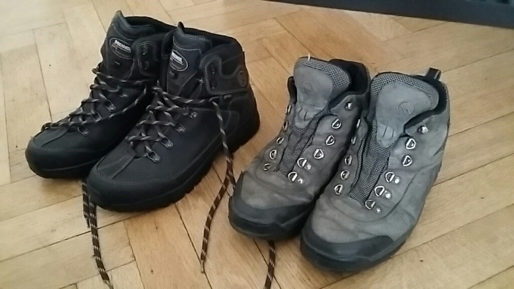 The old and new boots side by side