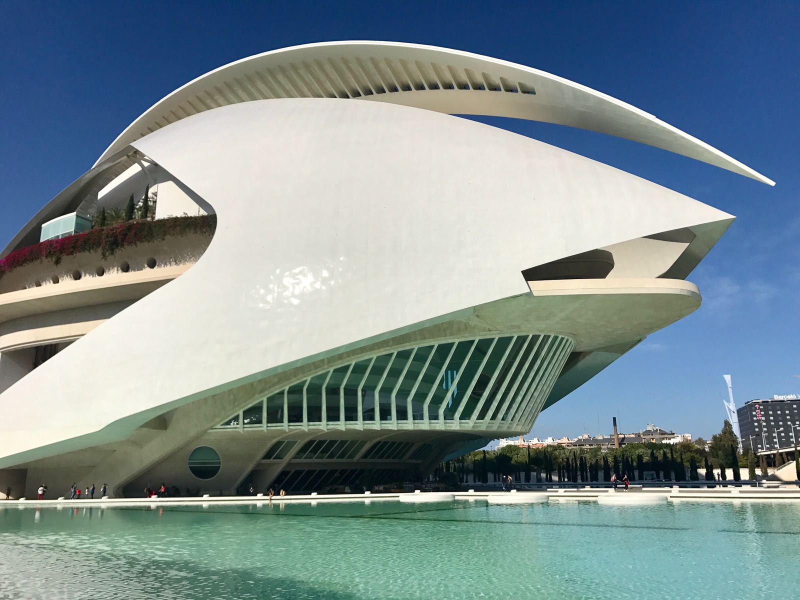 Opera Valencia showing the viewing gallery and the pool in front