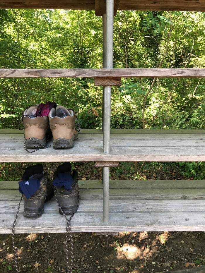 our walking boots on wooden shelves in front of some trees