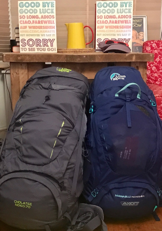Both our backpacks, packed and ready