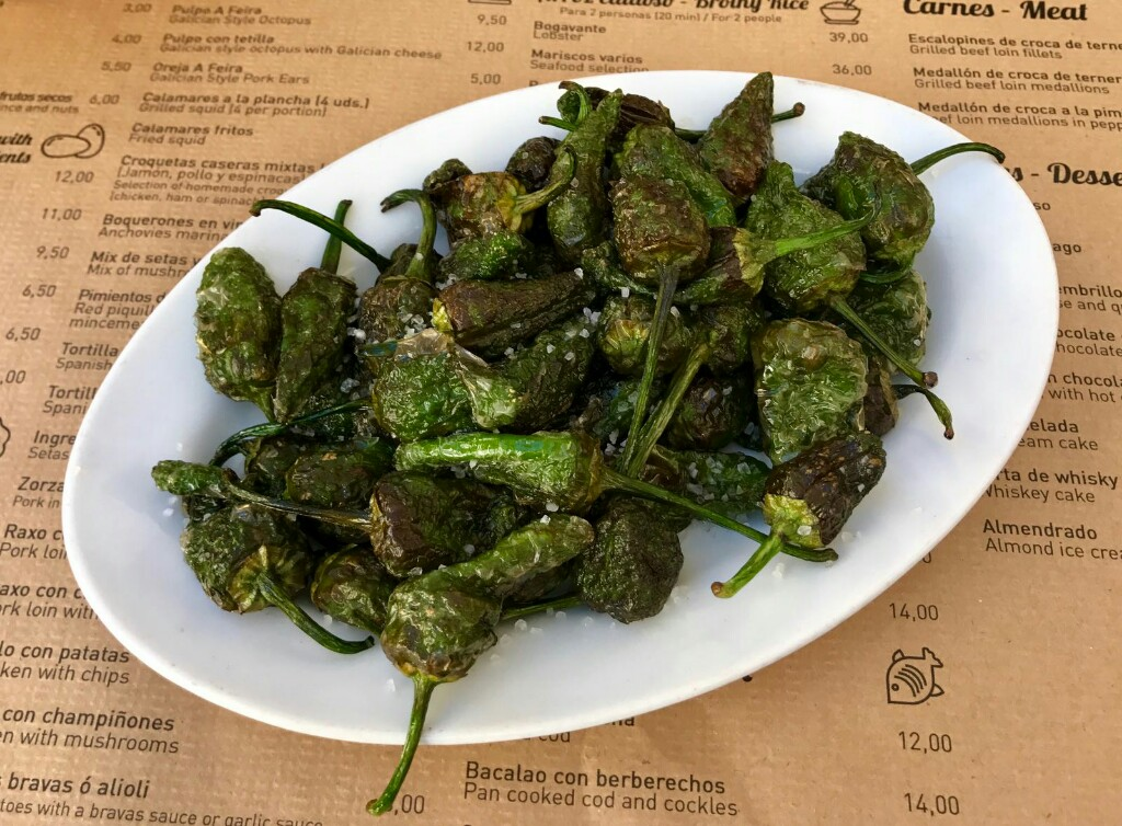 A plate of Padron peppers