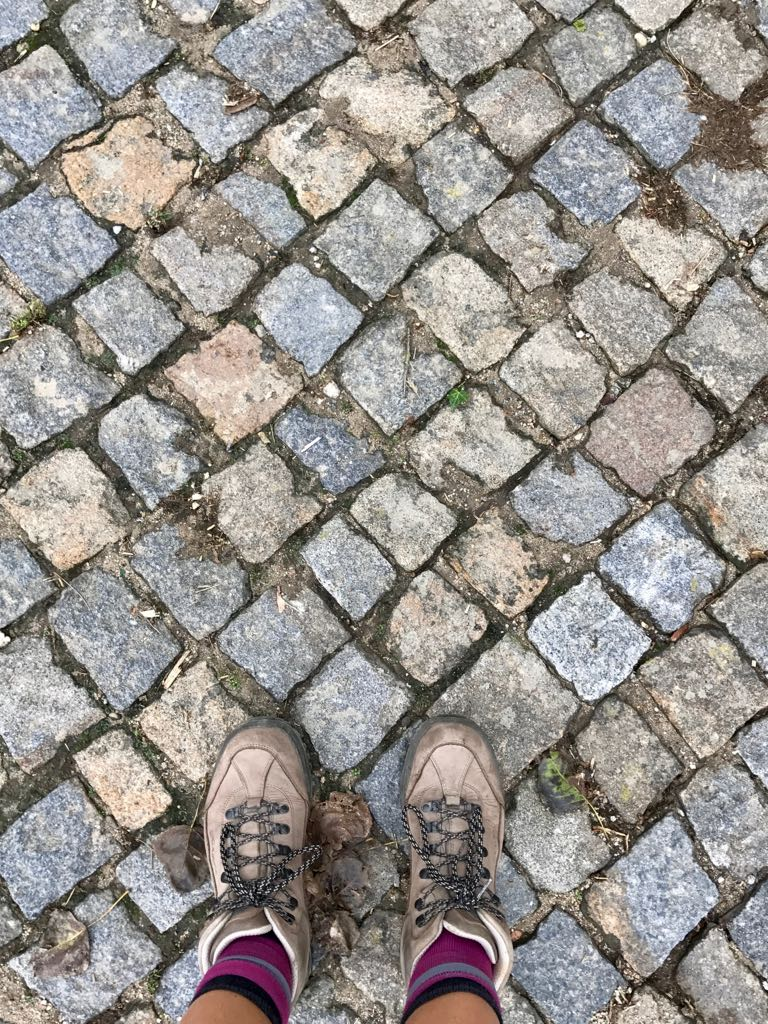 A stone path in Portugal made of cubed blocks