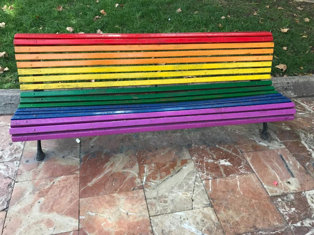 Rainbow coloured bench in Valencia