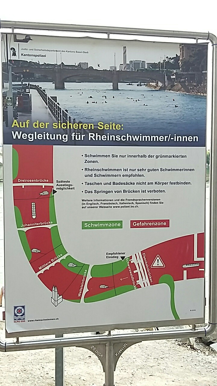 Map of the section of the Rhine you can swim in showing which areas to keep to and where to get in and out