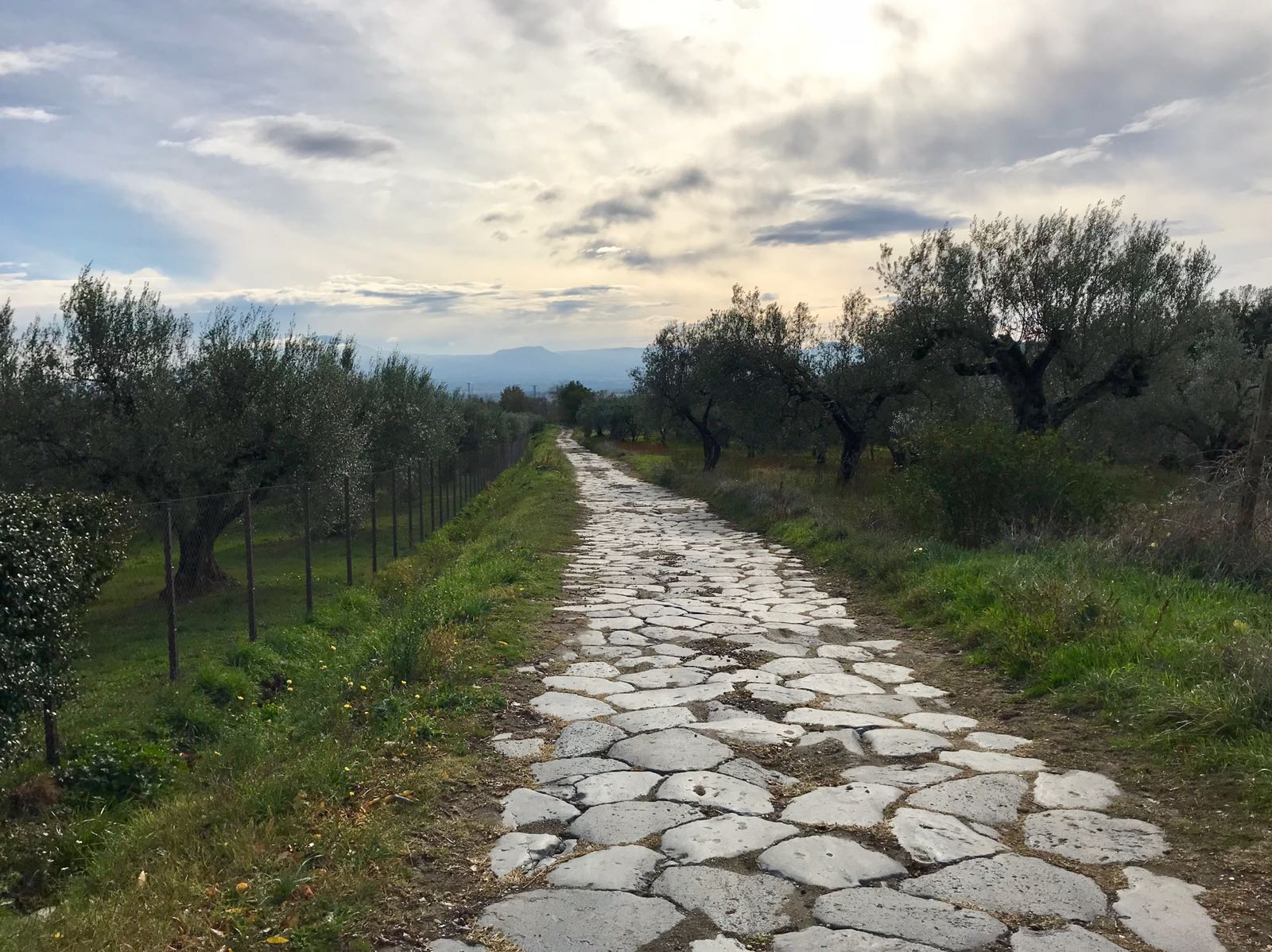 Roman road made up of large flat stones