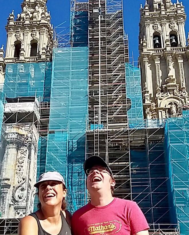 Roz and Tom outside the Santiago de Compostela cathedral