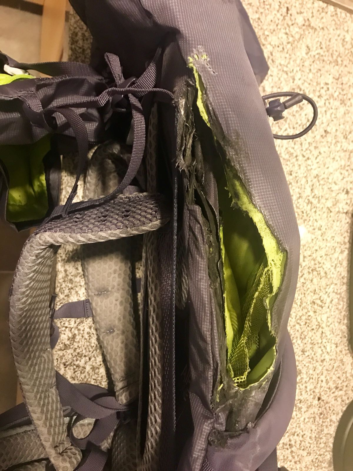 Roz's rucksack, having melted a bit in a 40 degree wash