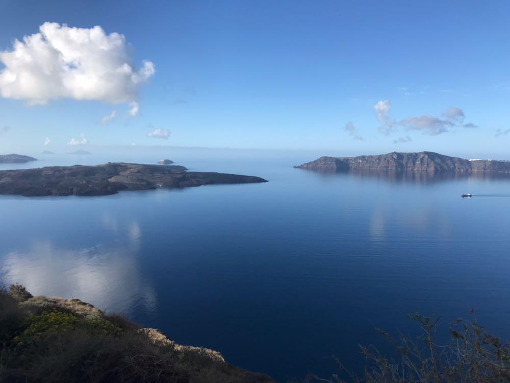Lagoon at the centre of the Santorini caldera