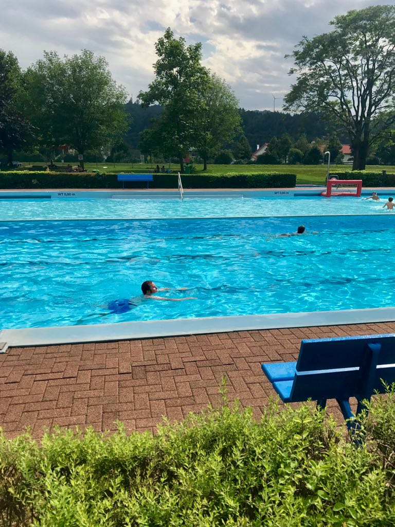 swimming pool, grass, and Black Forest hills in the background