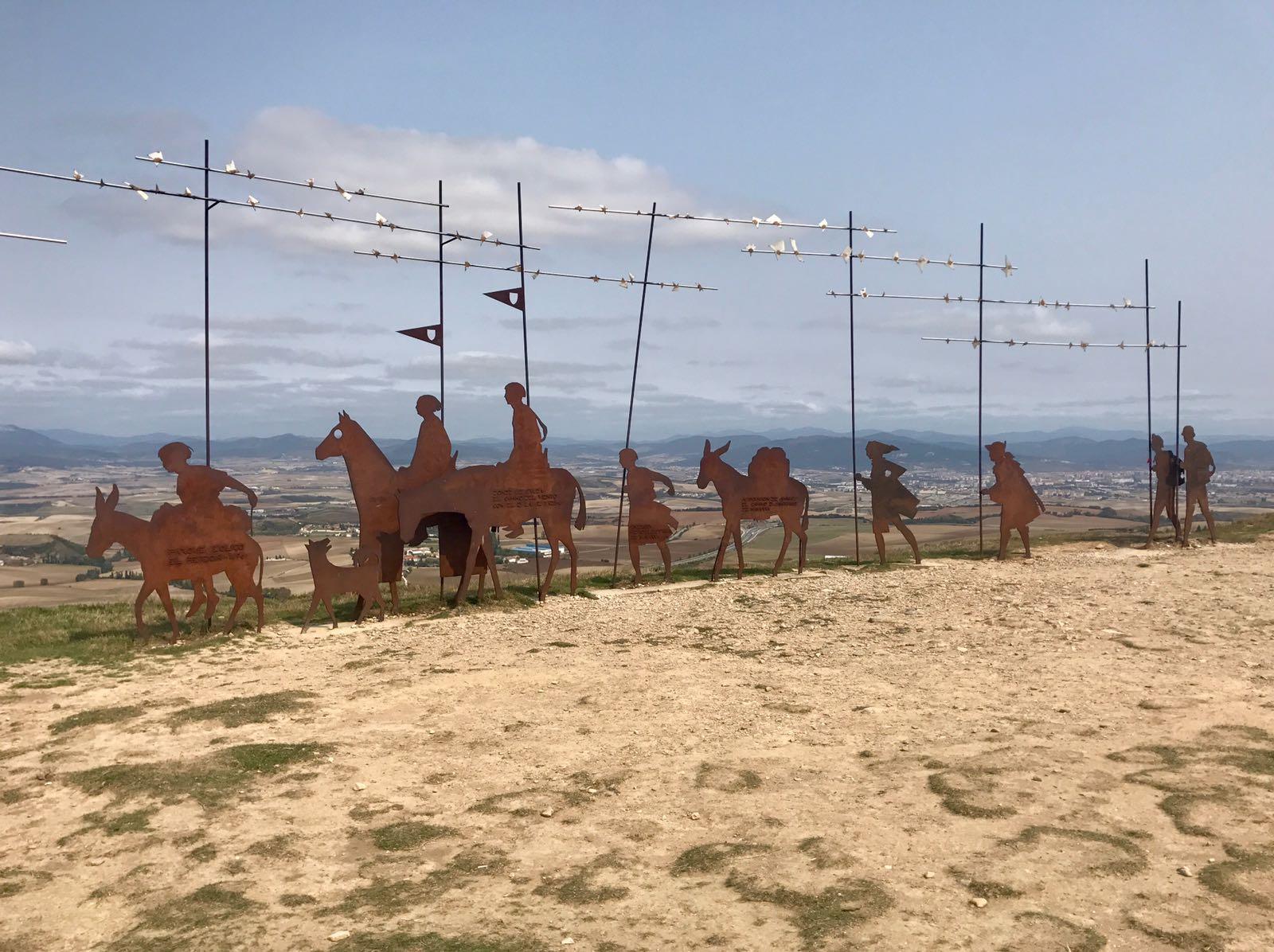 Sculpture of Camino pilgrims