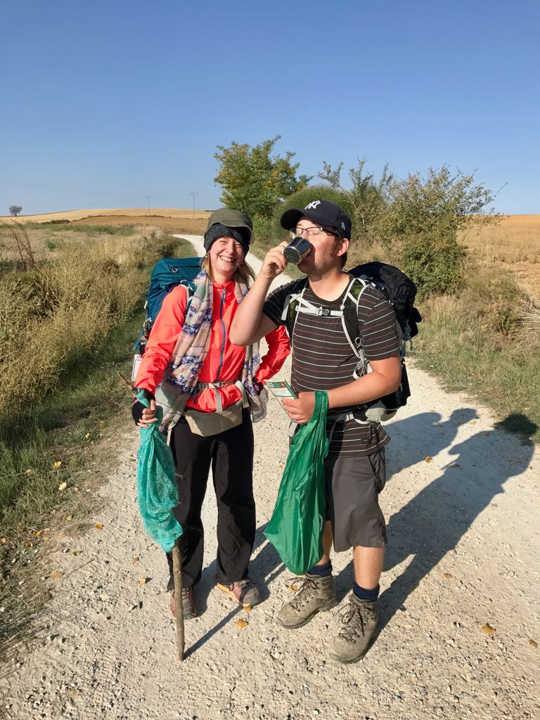 Tom and Sheila toasting the halfway mark