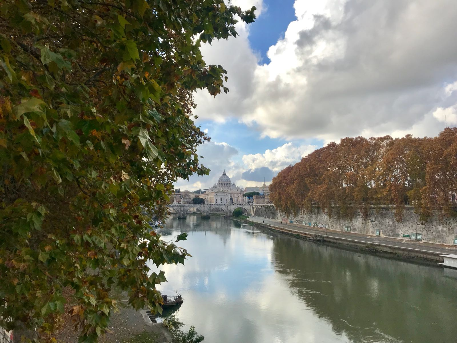St Peters Basilica viewed from the north bank of the River Tiber