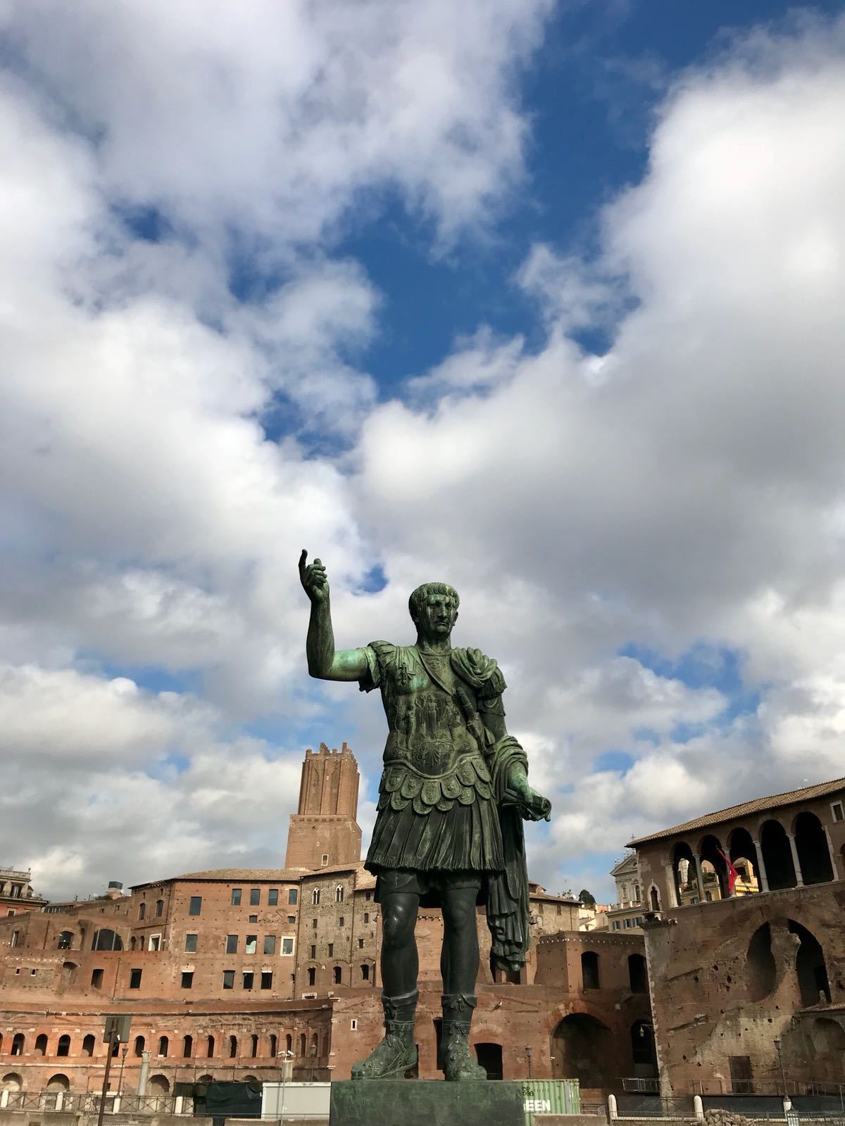 Statue of a Roman emperor standing near the Forum in Rome