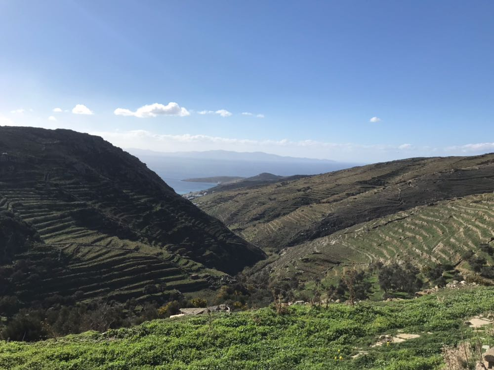 Hills on Tinos with their stepped fields looking like contour lines etched into their sides