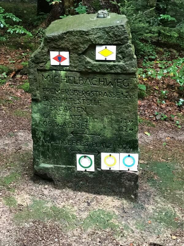 Stone sign for walks near Baden Baden