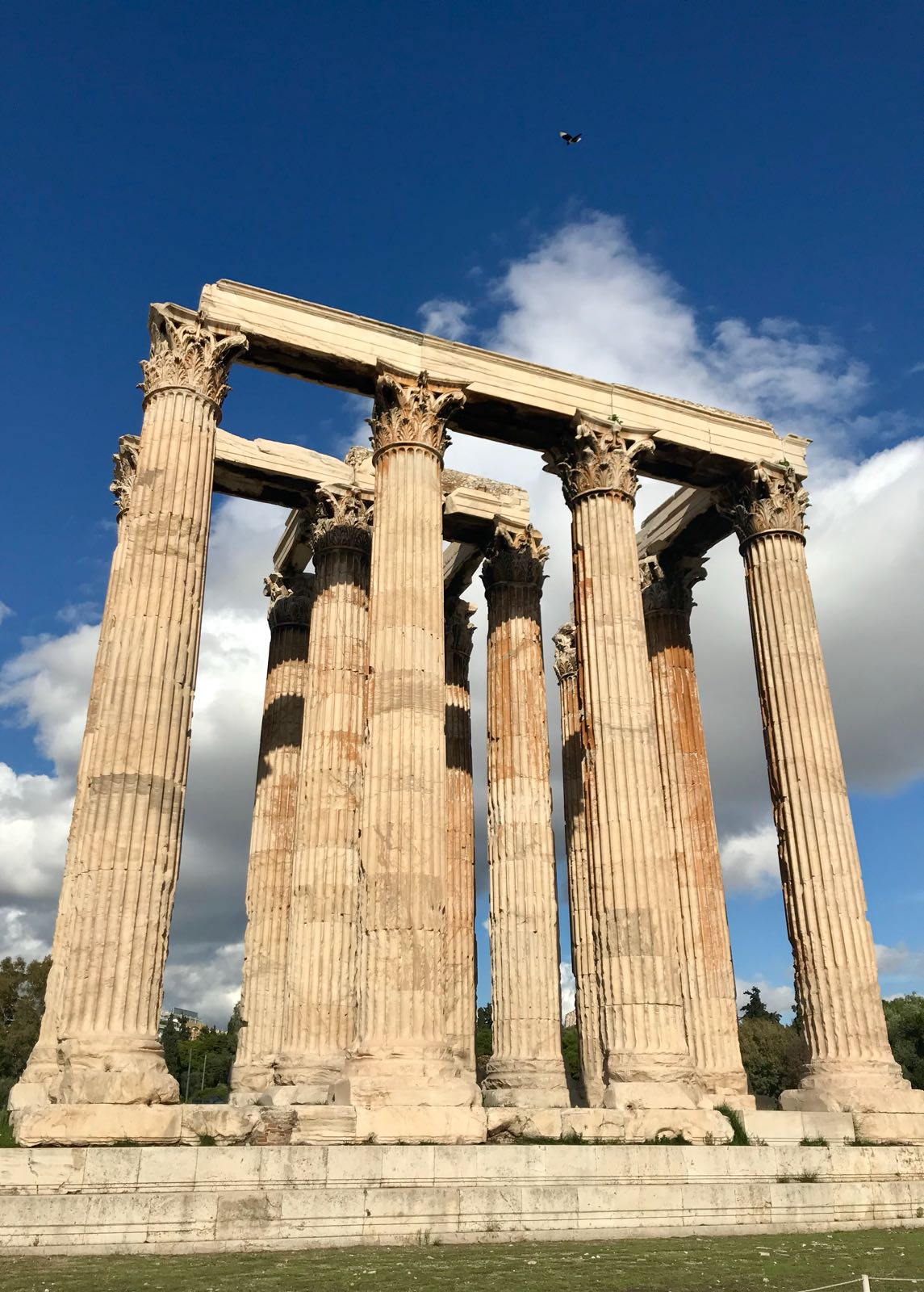 Columns at the temple of the Olympian Zeus supporting what was the bottom of the roof