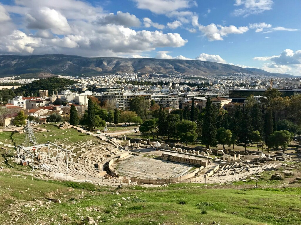 The theatre of Dionysus from above in the Acropolis