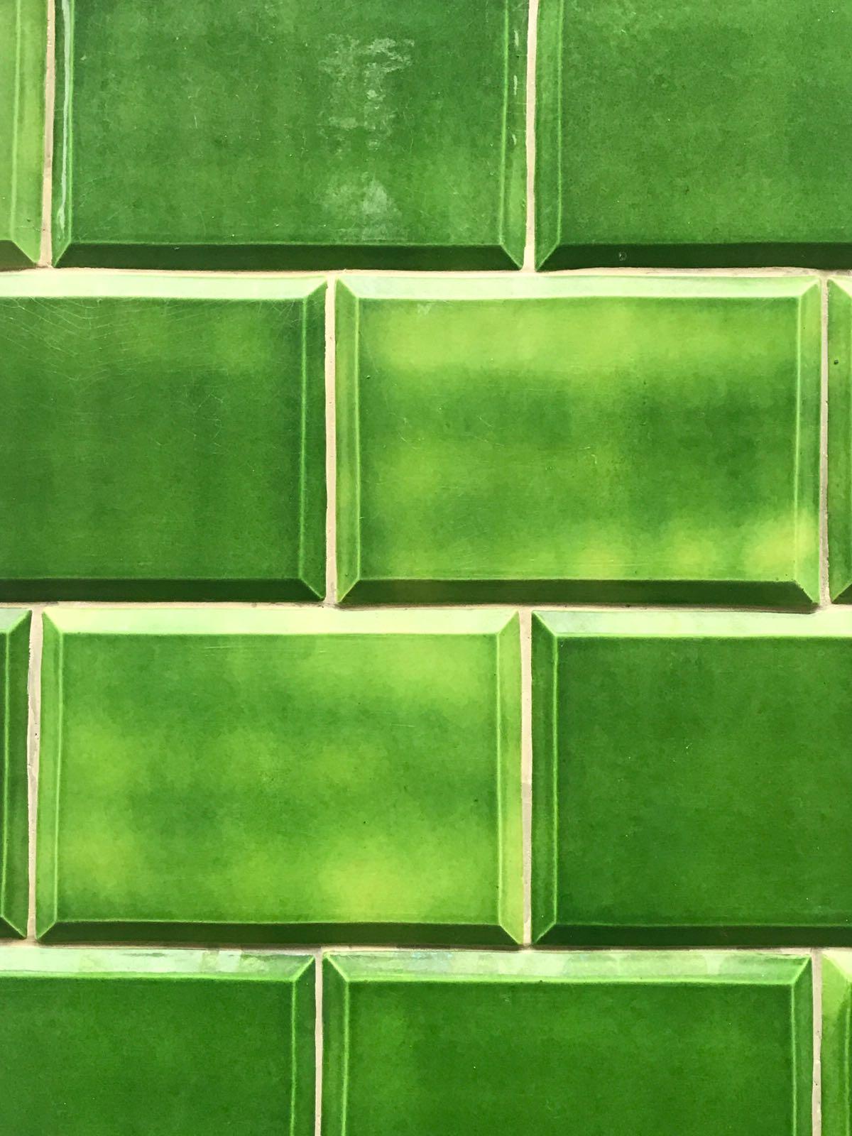 Green embossed tiles