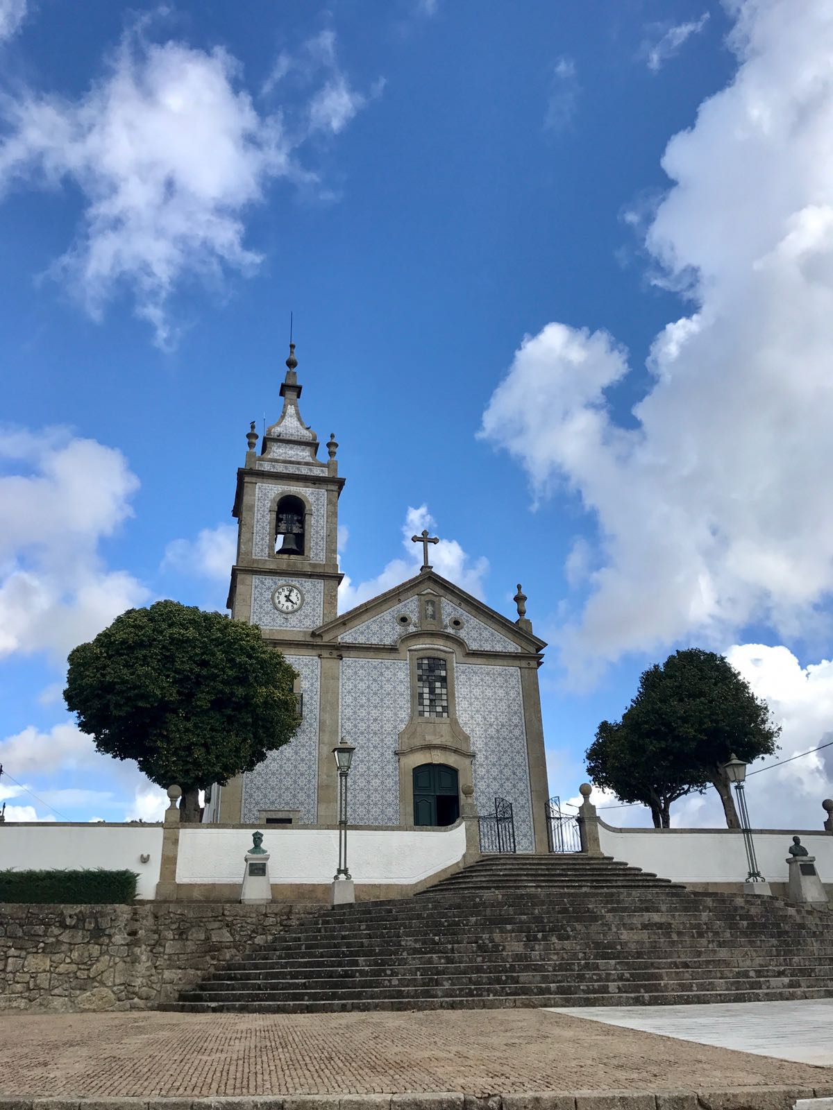 Portuguese church with decorative tiling on the walls instead of plain white