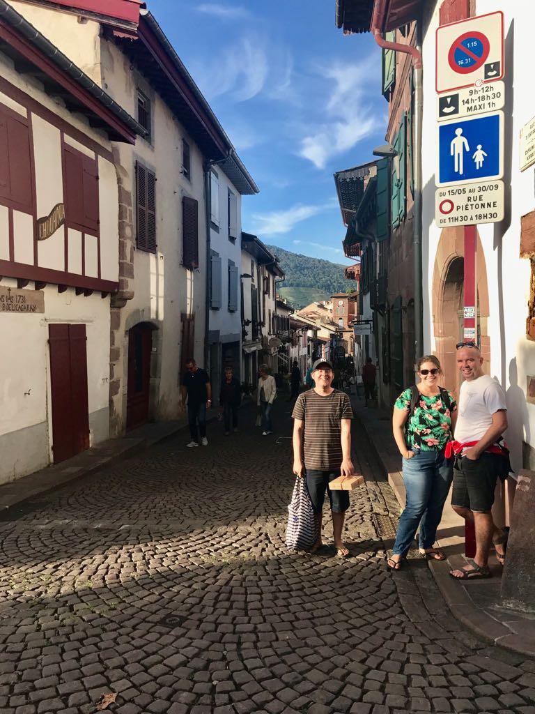 Tom, John and Fanny in a street in Saint Jean Pied de Port