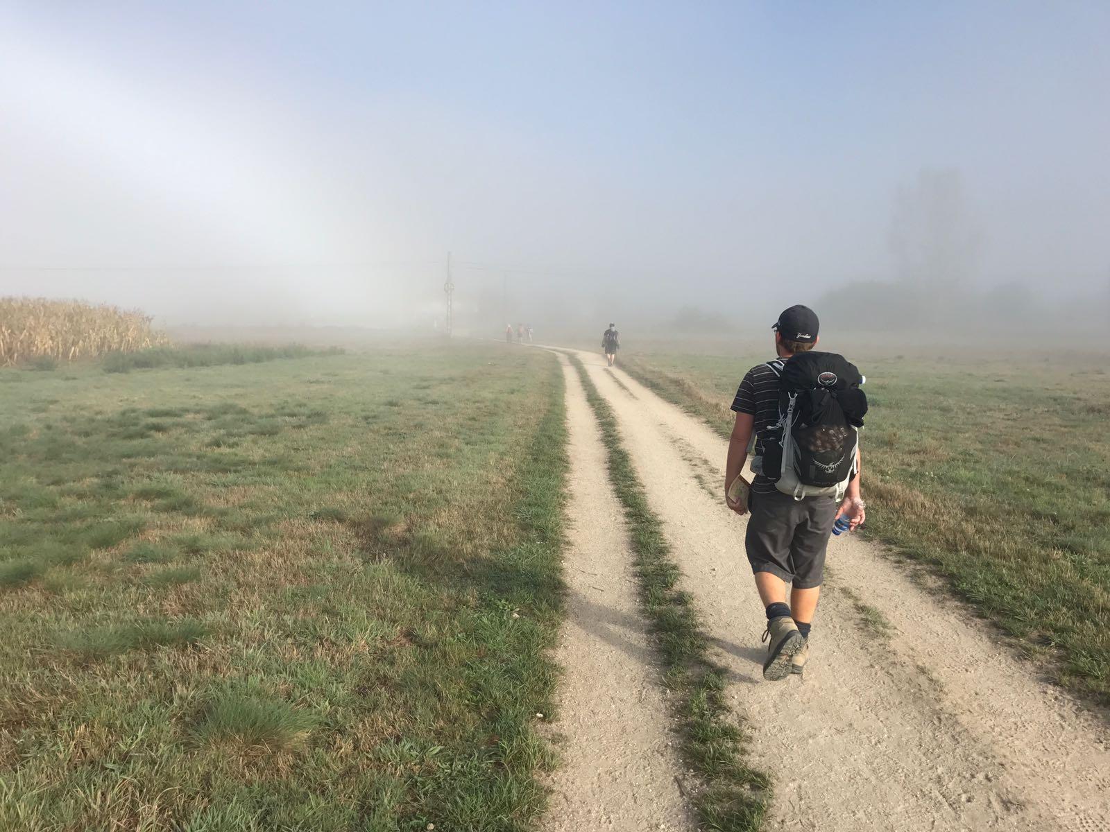 Tom walking through a misty field