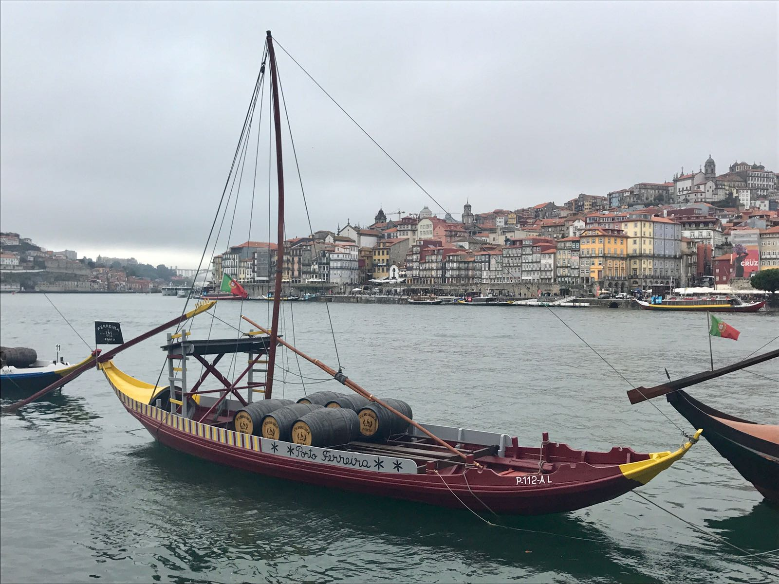 Traditional Portuguese boat used by the port manufacturers to advertise their company