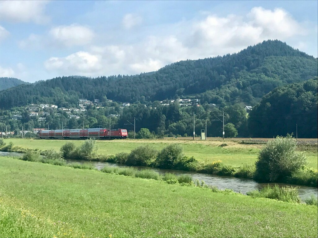 red train in the Black Forest hills