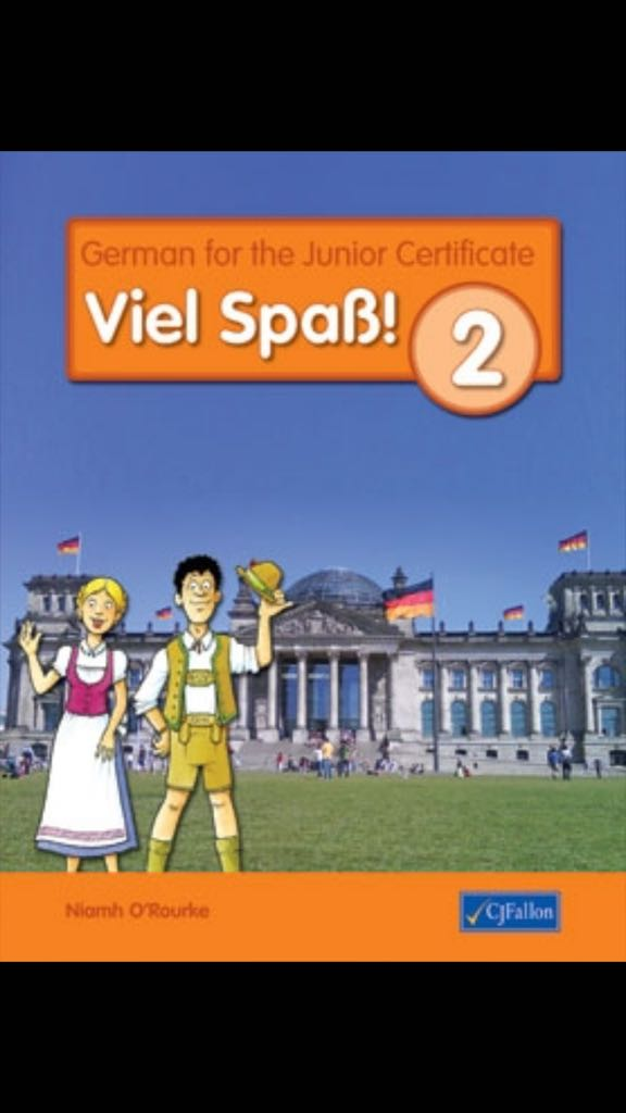 viel spaß German text book with 2 stereotypical Germans on the front cover