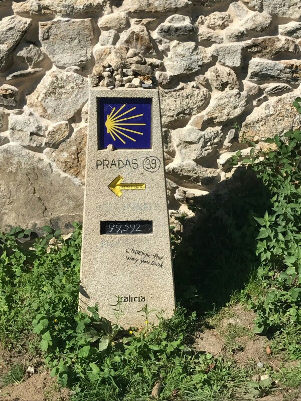 The first Camino distance marker we saw with less than 100 kilometres to go