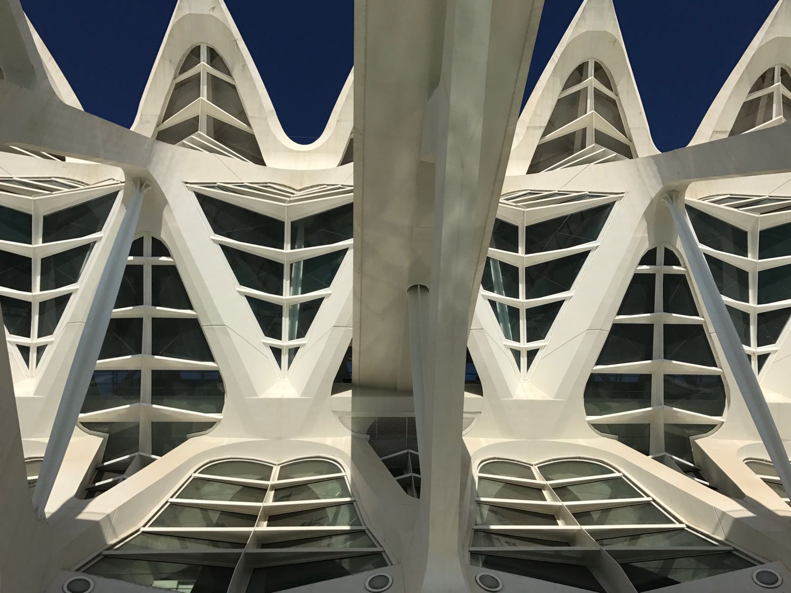 White spikes of the Valencia science museum roof from below with blue sky behind