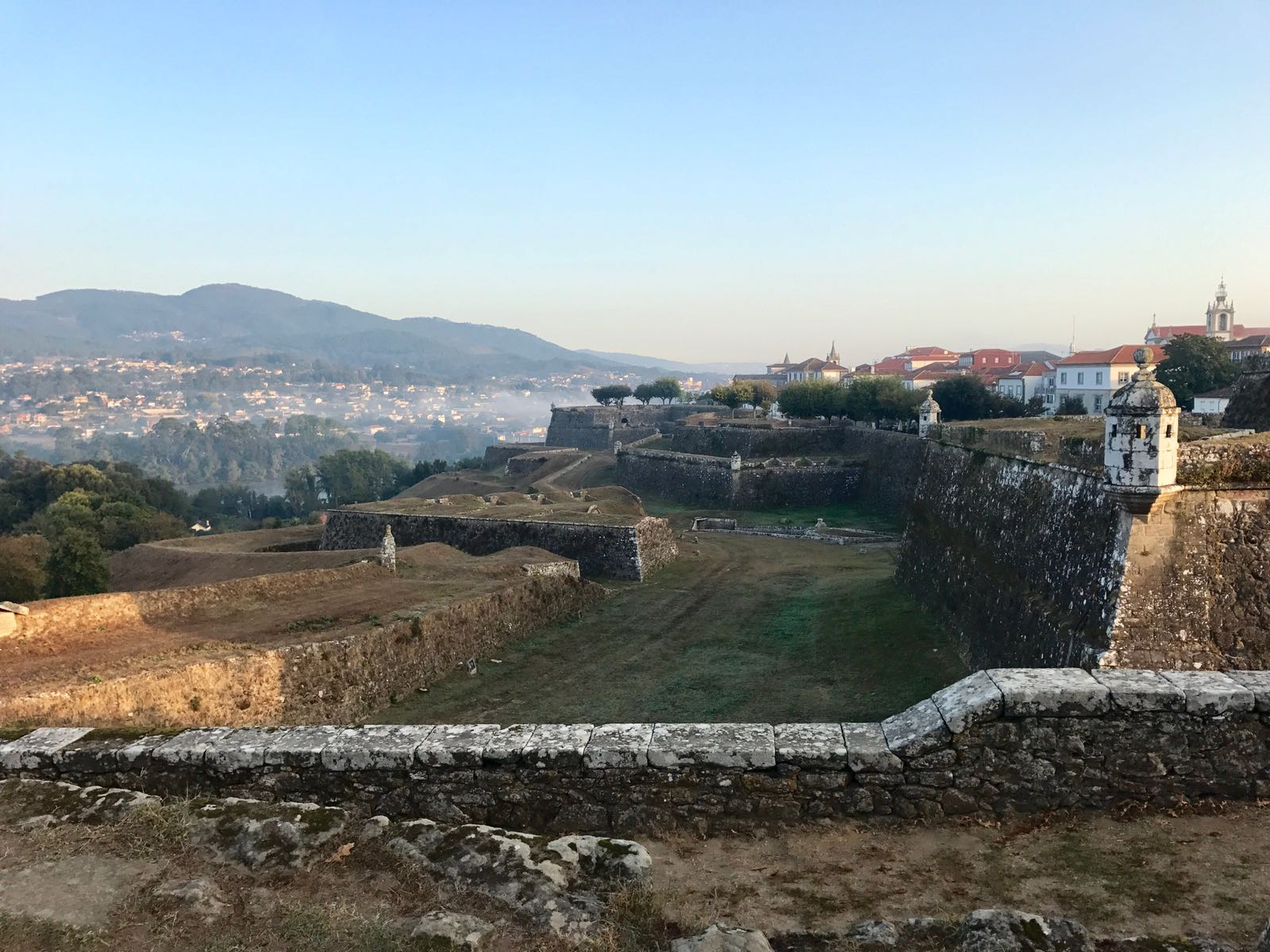 View from the ramparts of Valença fort, across the river to Tui