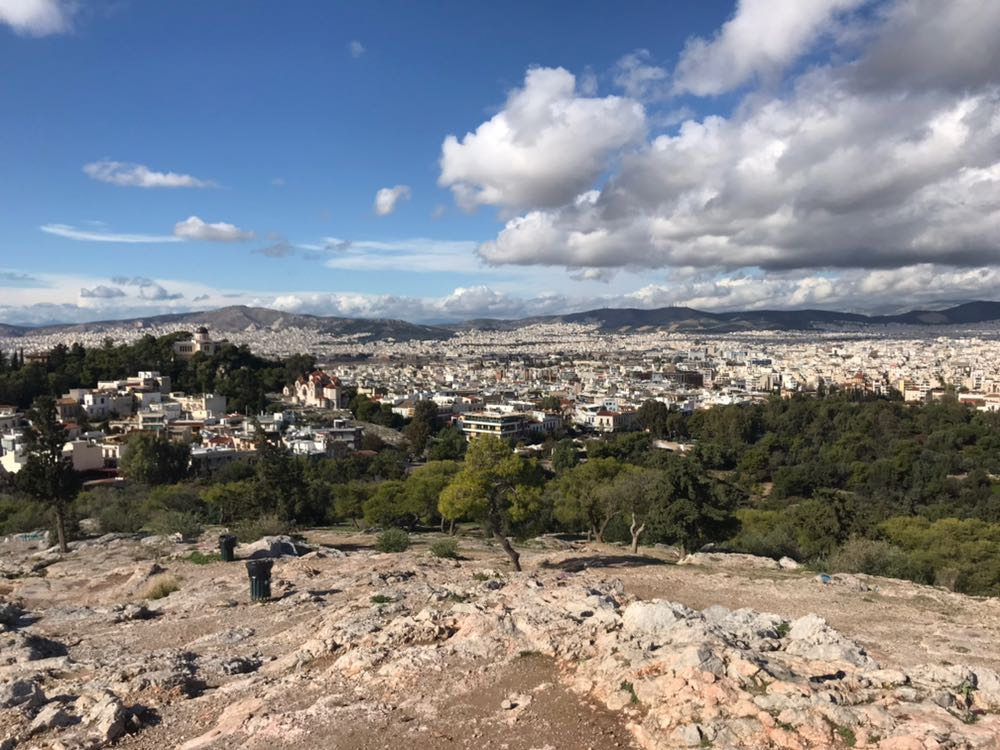 The north-west of Athens as seen from a rocky hill next to the Acropolis