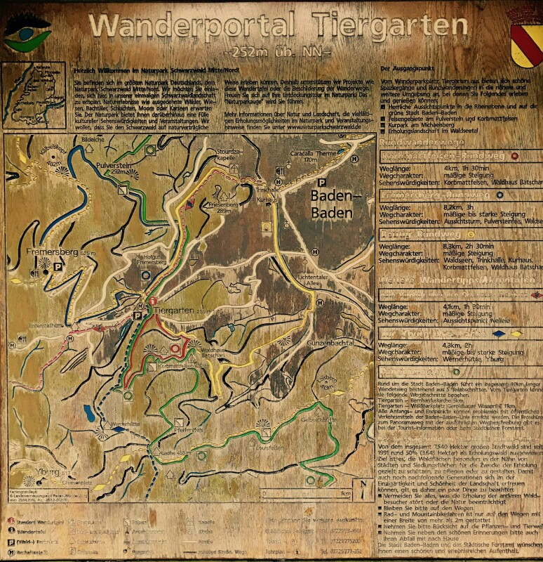 Wooden map for walks near Baden Baden