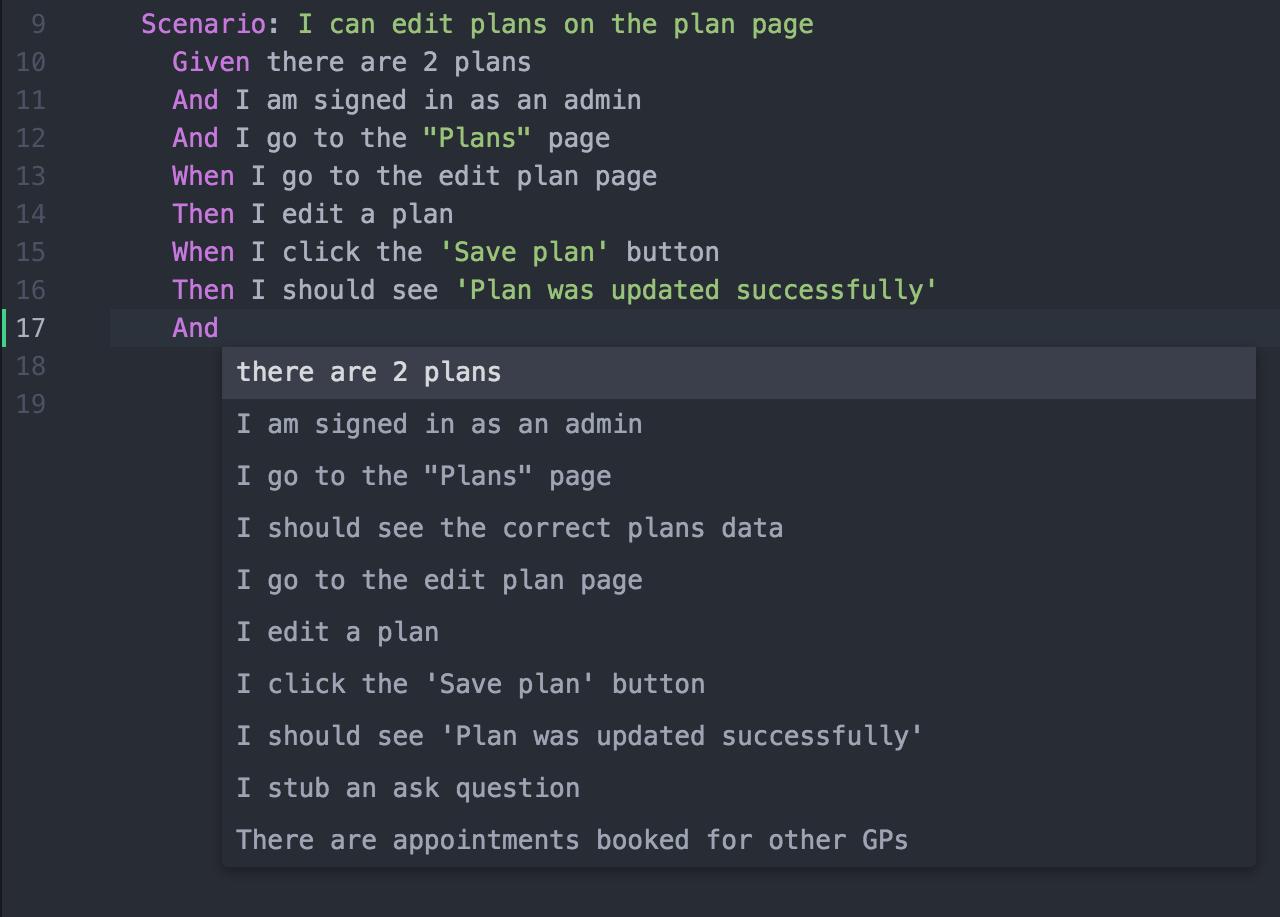 Cucumber Autocomplete Screenshot