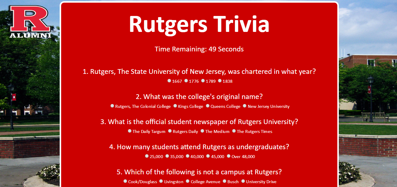 Rutgers Trivia Game