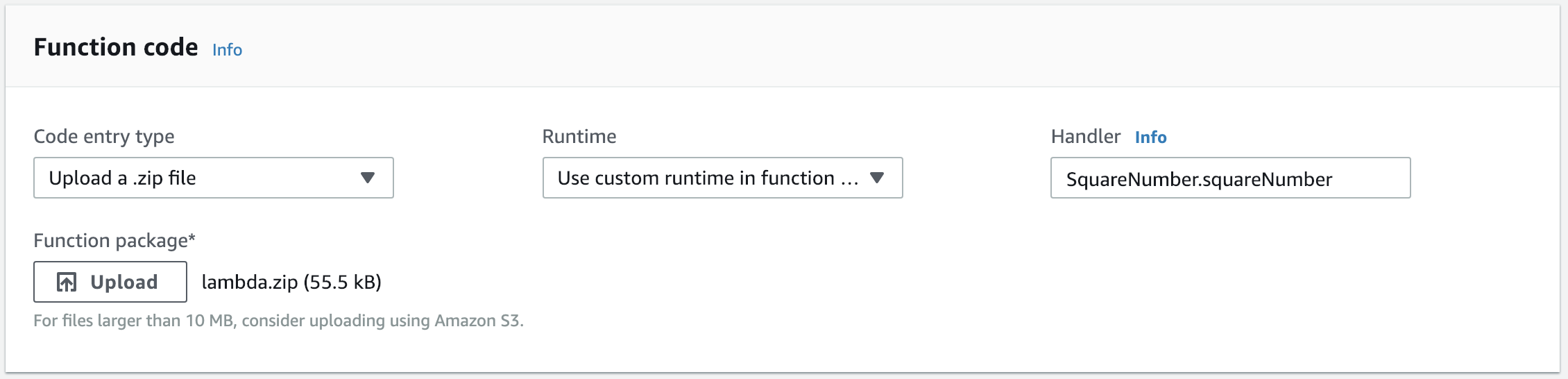 Upload the function package and set the handler