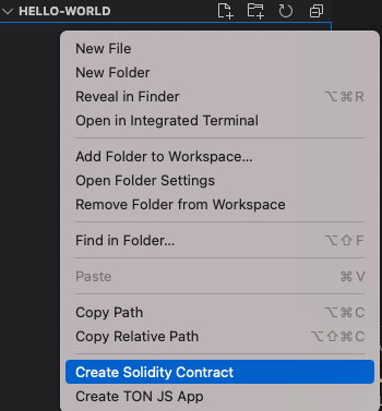 Create Solidity contract