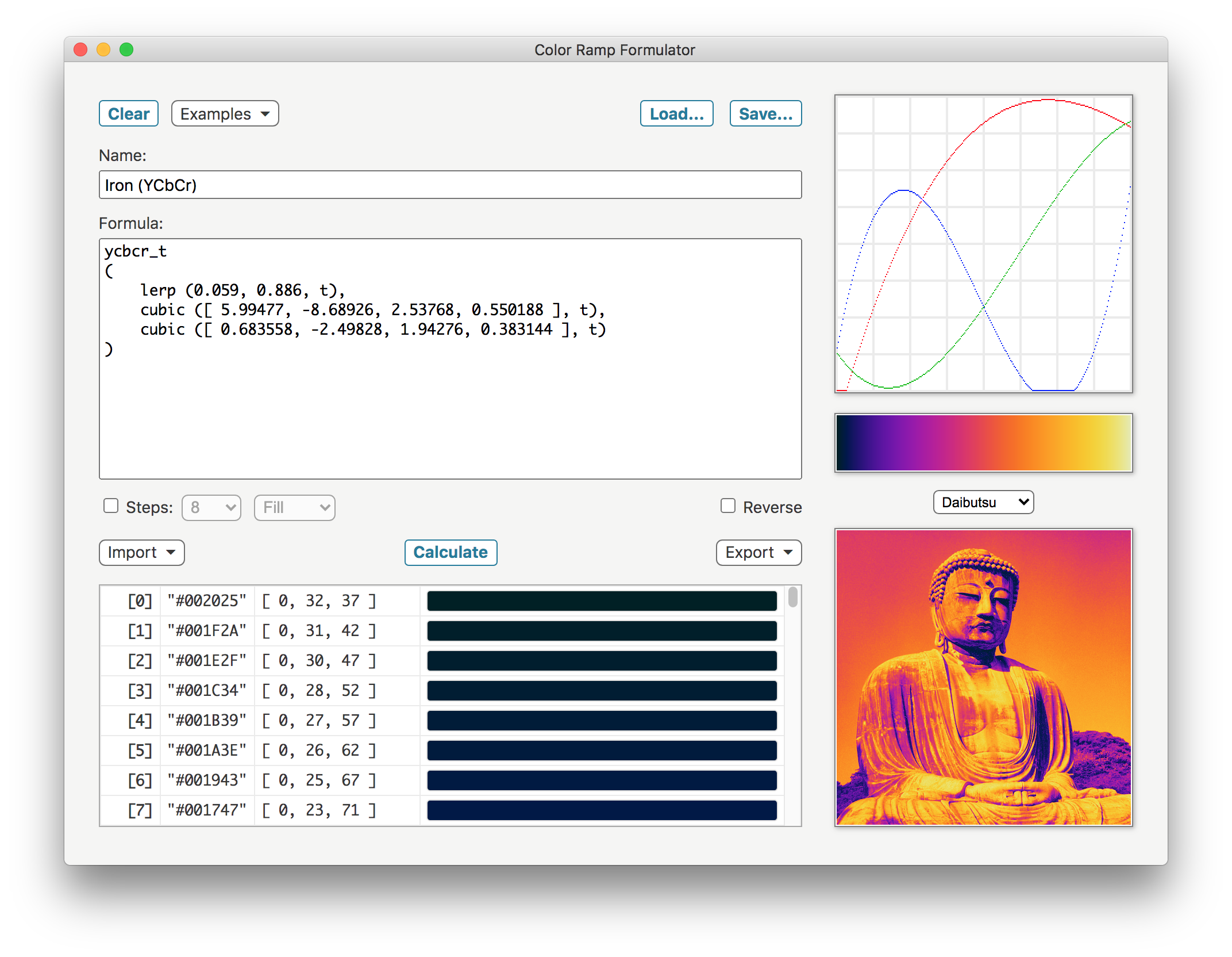 Color Ramp Formulator (Daibutsu) screenshot