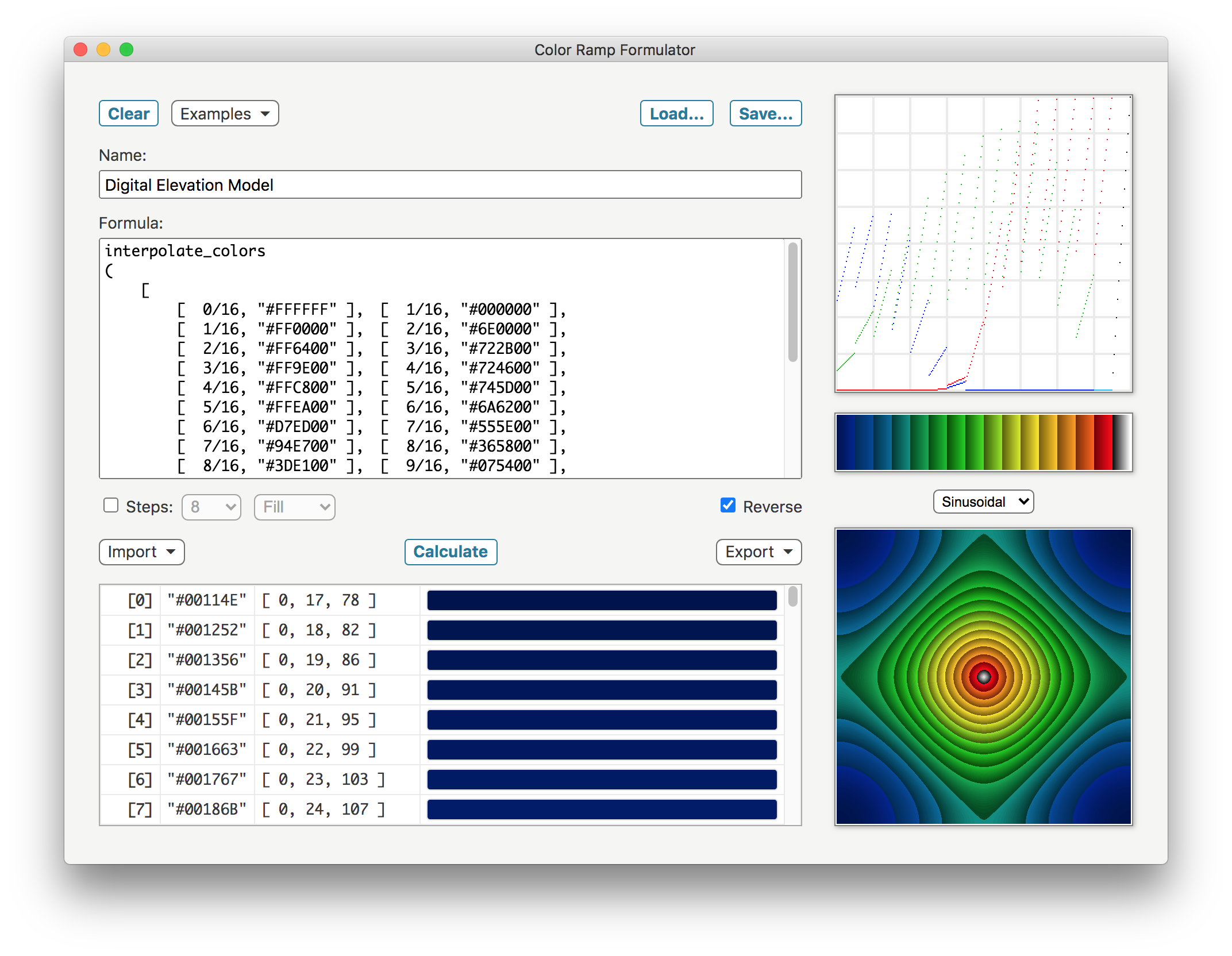 Color Ramp Formulator (Sinusoidal) screenshot