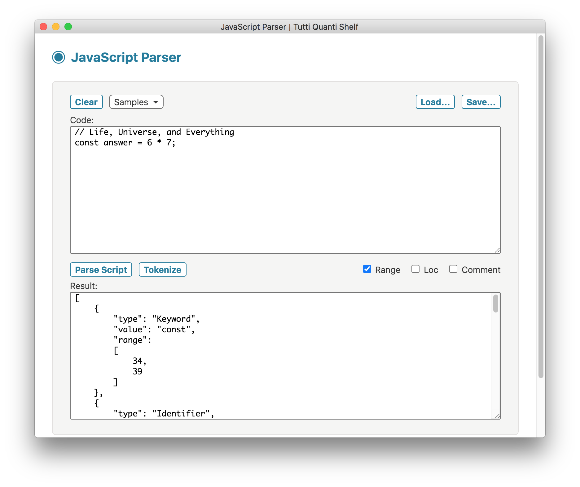 JavaScript Parser screenshot
